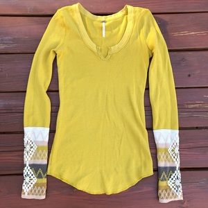 Free people mustard top Sz Sm NWOT